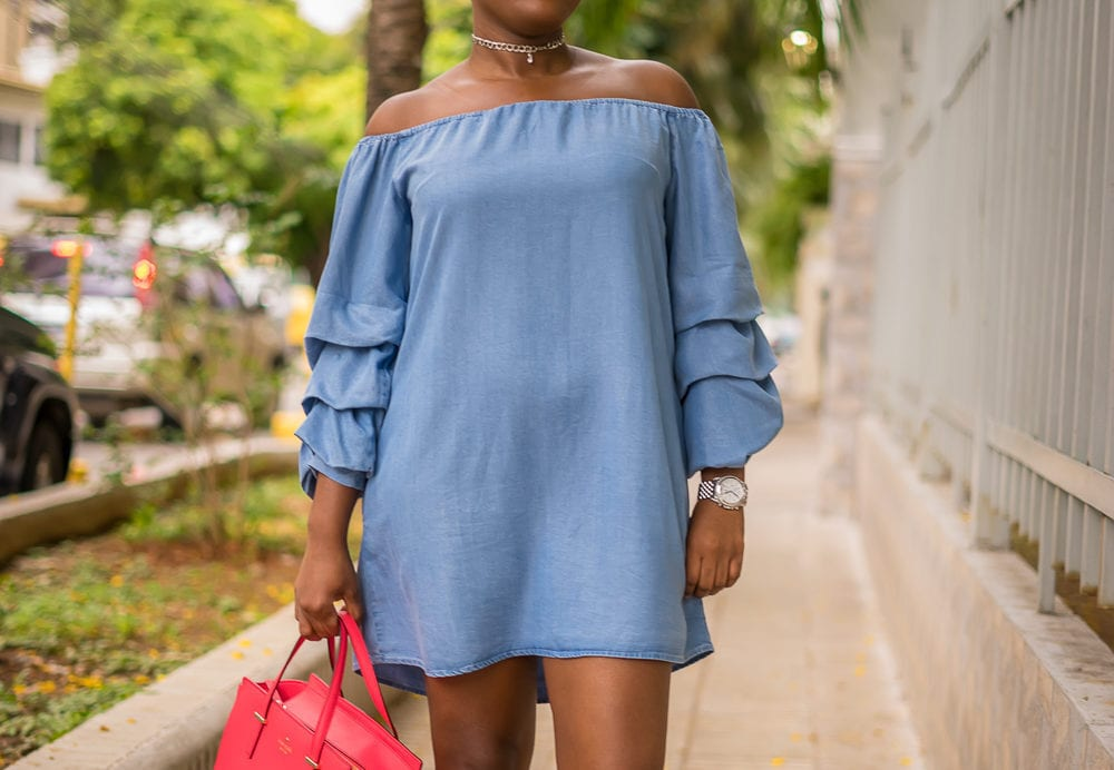 Ruffled Bell Sleeves Dress | How to make a statement with ruffled bell sleeve denim dress