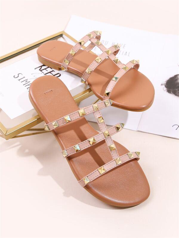 Spiked Decor Gladiator Slide Sandals