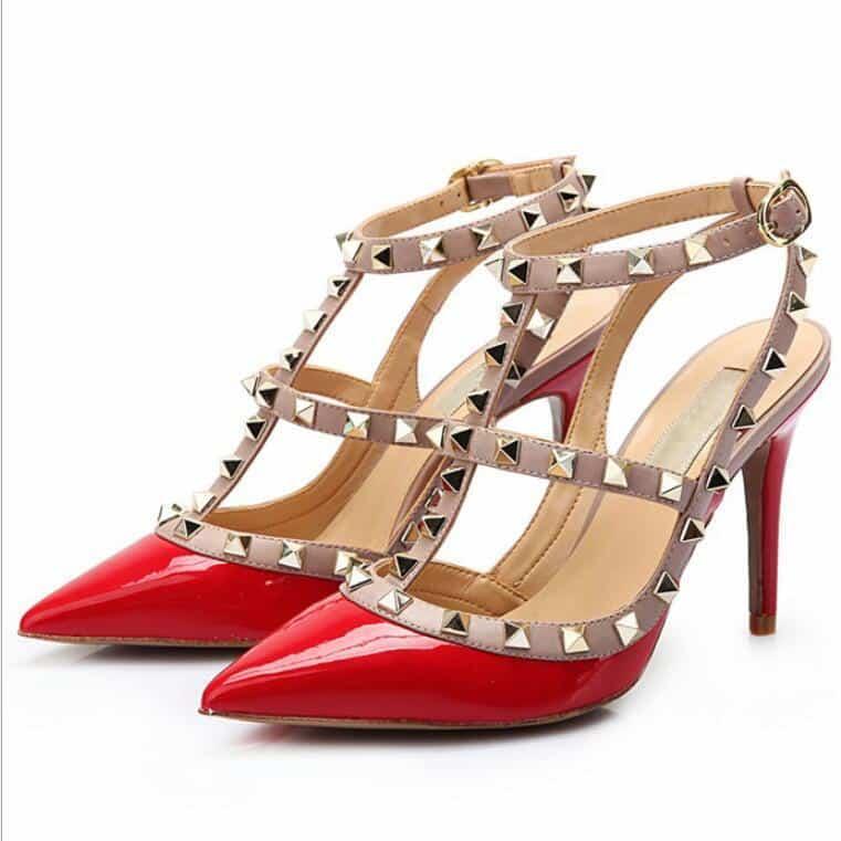 Valentino Rockstud 2 Strap Patent Heels Dupe