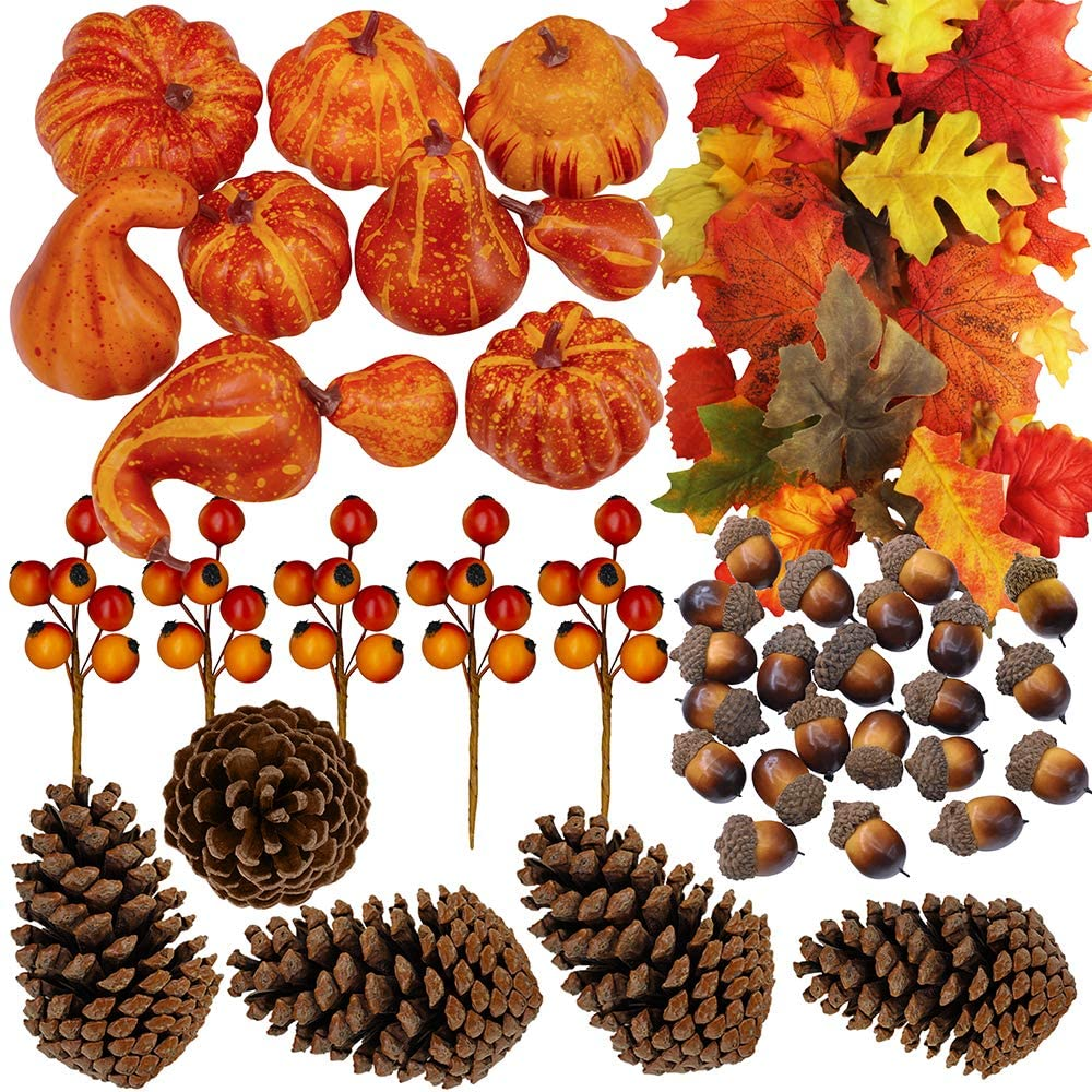 110 Pcs Artificial Autumn Gourds
