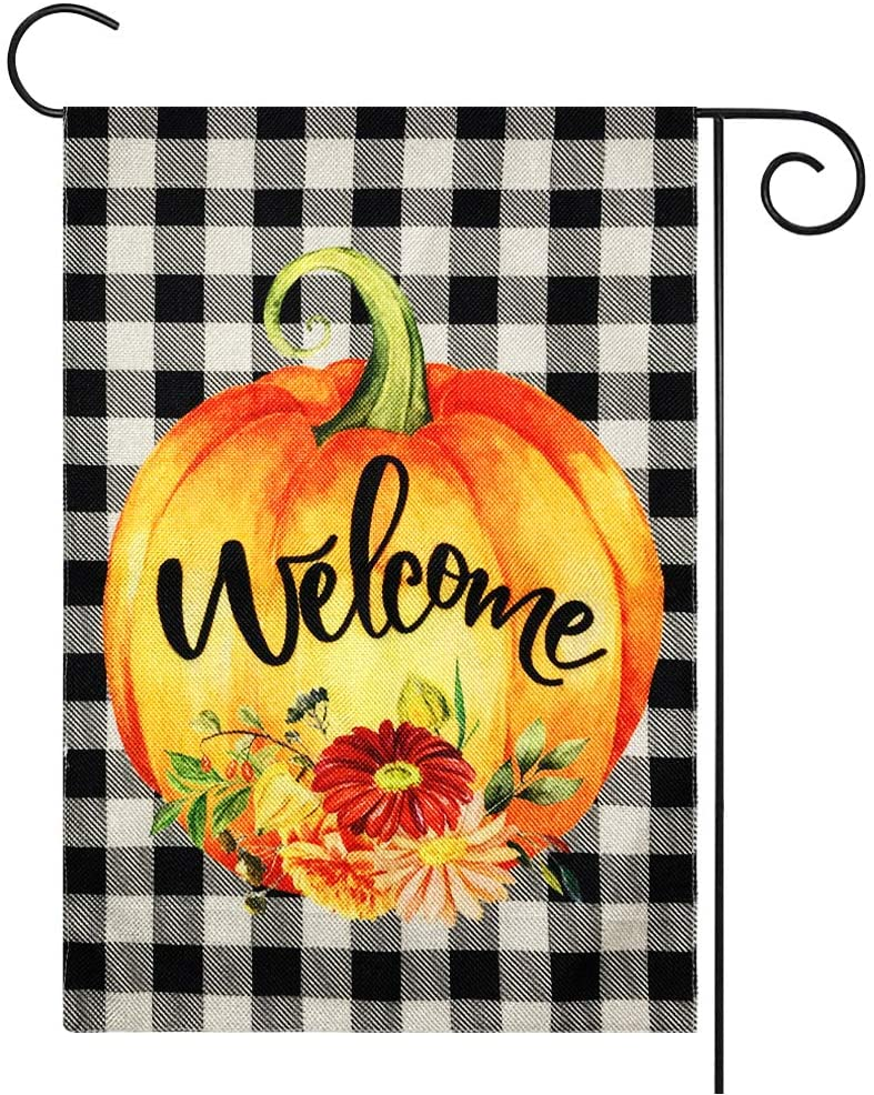 Welcome Pumpkin Fall Garden Flag
