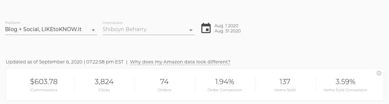 RewardStyle Income Screenshot Aug 2020