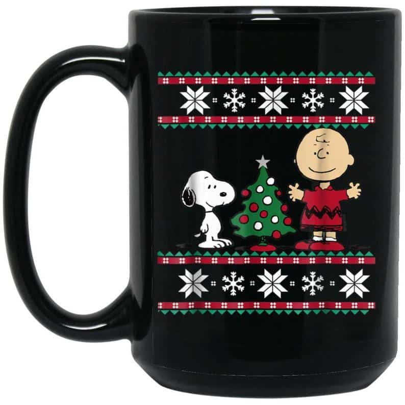 Snoopy Mug Christmas | Black Ceramic Mug Snoopy