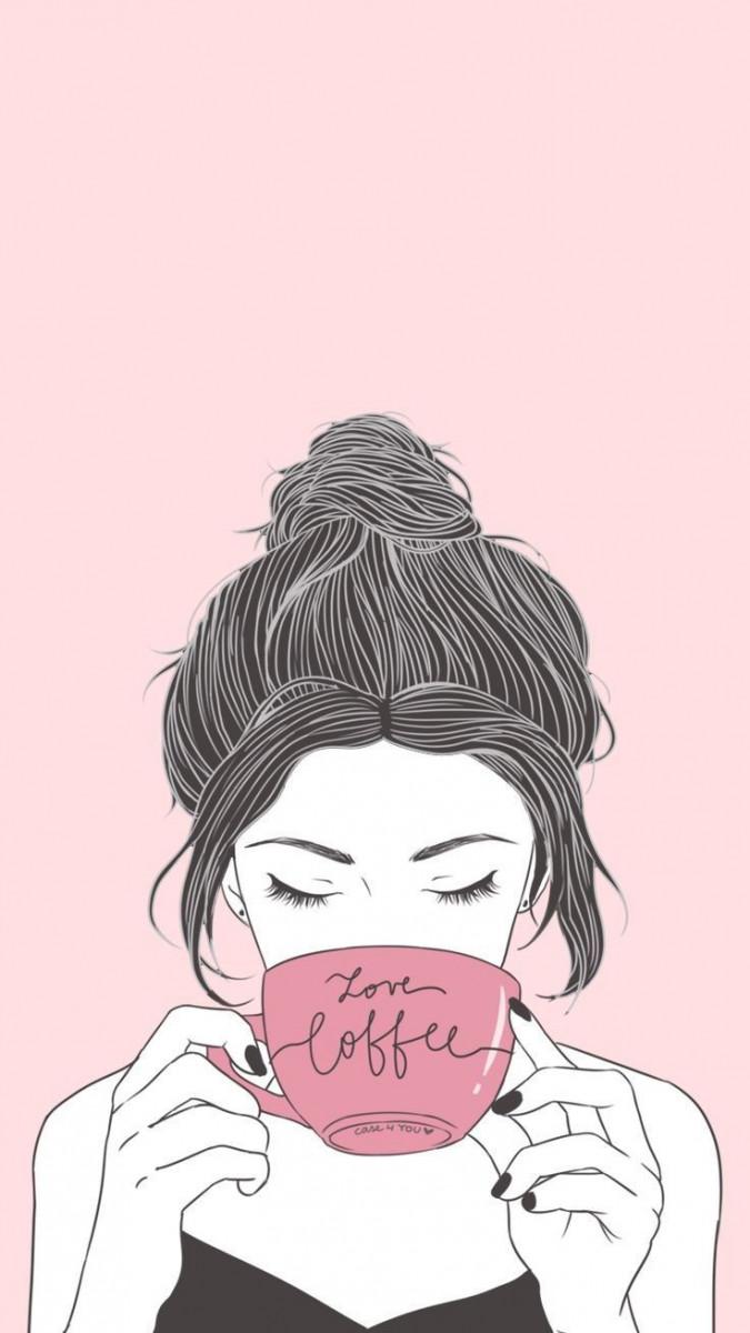 girl drinking coffee cute wallpaper